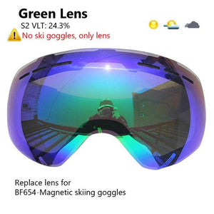 Ski Goggles with Magnetic Double Layers Lens polarized Bikewest.com Green Lens Only