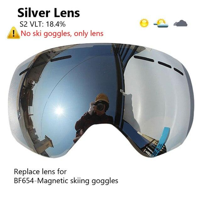 Ski Goggles with Magnetic Double Layers Lens polarized Bikewest.com Silver Lens Only