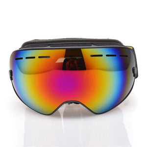 Ski Snowboard Goggles. UV400 Big Spherical Mask Glasses Bikewest.com BLACK frame red lens