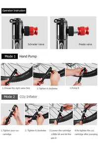 Telescopic Bike Pump 2-in-1 Design CO2 Inflator Bikewest.com