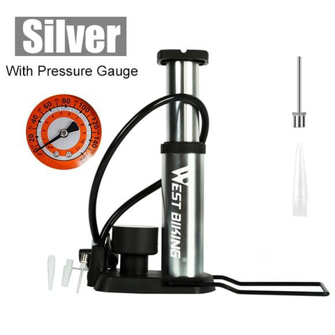 Ultra-light MTB Bike Pump Portable Bikewest.com With Gauge Silver China