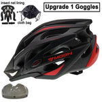 Load image into Gallery viewer, Ultralight Bicycle Helmet In-mold MTB Bikewest.com Black Red 1 Lens L (58-61cm)