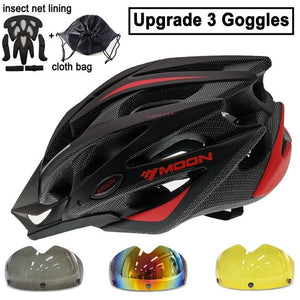 Ultralight Bicycle Helmet In-mold MTB Bikewest.com Black Red 3 Lenses L (58-61cm)