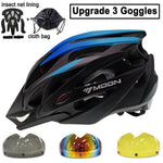 Load image into Gallery viewer, Ultralight Bicycle Helmet In-mold MTB Bikewest.com Blue Black 3 Lenses M (55-58cm)