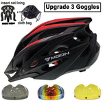 Load image into Gallery viewer, Ultralight Bicycle Helmet In-mold MTB Bikewest.com Red Black 3 Lenses L (58-61cm)