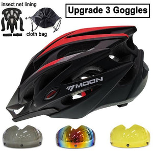 Ultralight Bicycle Helmet In-mold MTB Bikewest.com Red Black 3 Lenses L (58-61cm)
