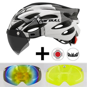 Ultralight Cycling Helmet With Removable Visor Goggles Bikewest.com Black-white 2 Lens
