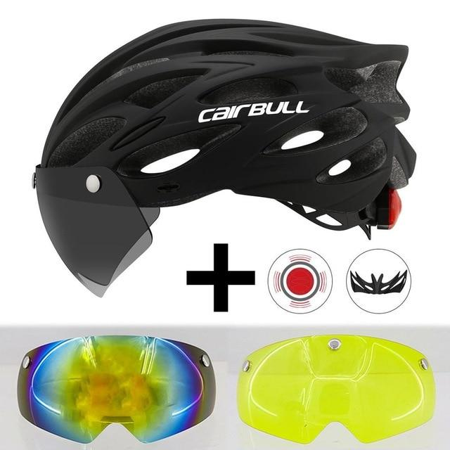 Ultralight Cycling Helmet With Removable Visor Goggles Bikewest.com Black With 2 Lens