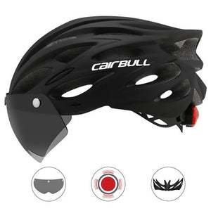 Ultralight Cycling Helmet With Removable Visor Goggles Bikewest.com CB-26 Black