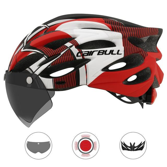 Ultralight Cycling Helmet With Removable Visor Goggles Bikewest.com CB-26 Black-red