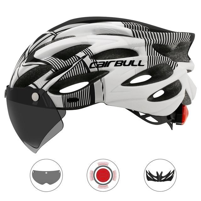 Ultralight Cycling Helmet With Removable Visor Goggles Bikewest.com CB-26 Black-white