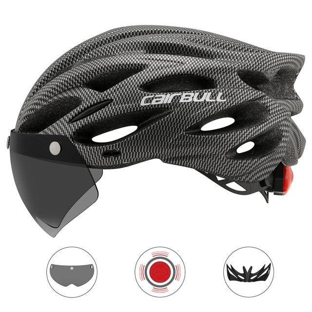 Ultralight Cycling Helmet With Removable Visor Goggles Bikewest.com CB-26 Gray