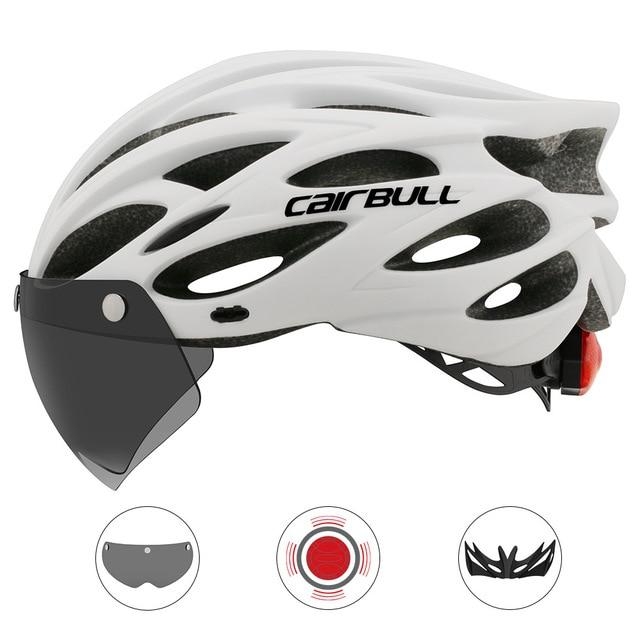 Ultralight Cycling Helmet With Removable Visor Goggles Bikewest.com CB-26 White