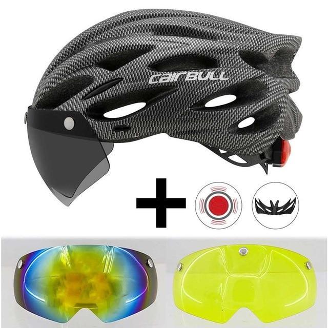Ultralight Cycling Helmet With Removable Visor Goggles Bikewest.com Gray With 2 Lens