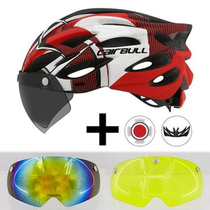 Ultralight Cycling Helmet With Removable Visor Goggles Bikewest.com Red With 2 Lens