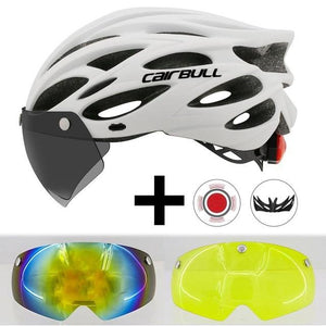 Ultralight Cycling Helmet With Removable Visor Goggles Bikewest.com White With2 Lens