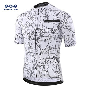 Unisex White Cartoon Cat Cycling Jersey Bikewest.com