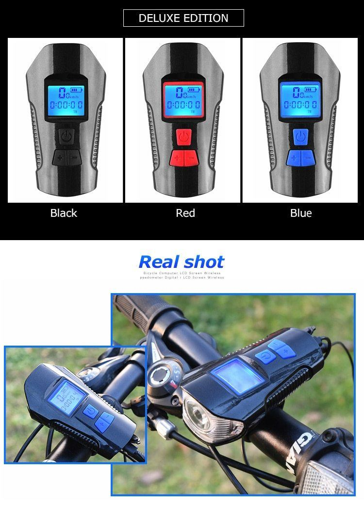 Waterproof Bicycle Bell With Light USB Charging Bike Front Light Flashlight Handlebar Cycling Head Light w/ Horn Speed Meter LCD Bikewest.com
