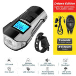 Load image into Gallery viewer, Waterproof Bicycle Bell With Light USB Charging Bike Front Light Flashlight Handlebar Cycling Head Light w/ Horn Speed Meter LCD Bikewest.com Deluxe Edition BLK China