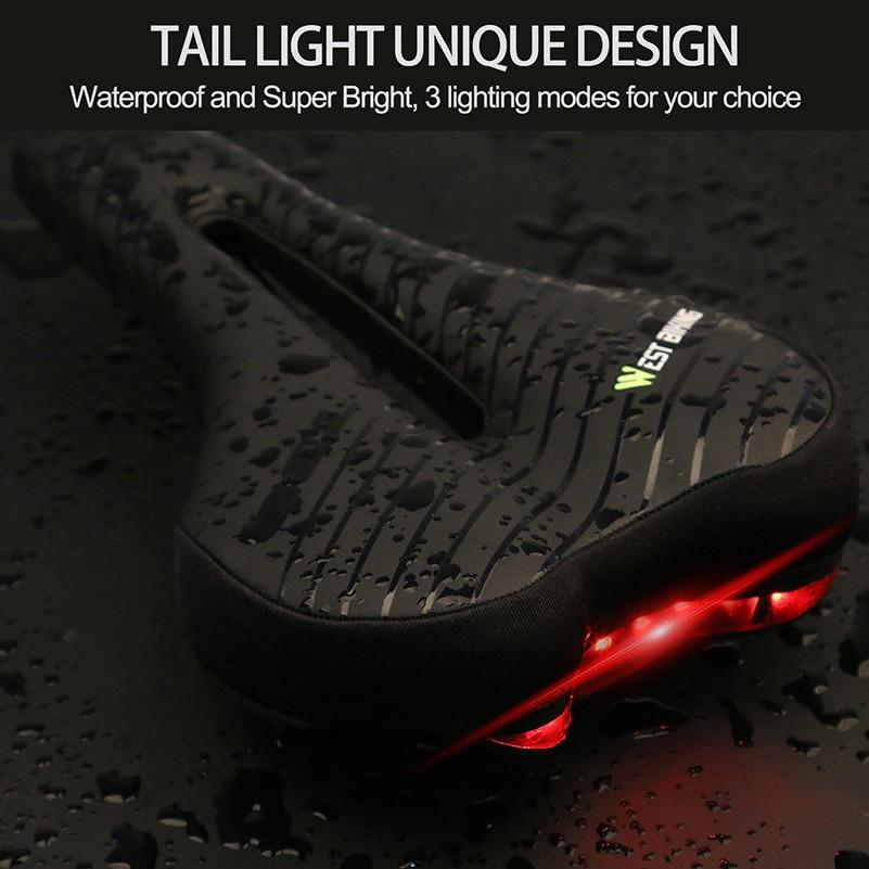 Waterproof Bike Saddle with Tail Light Bikewest.com