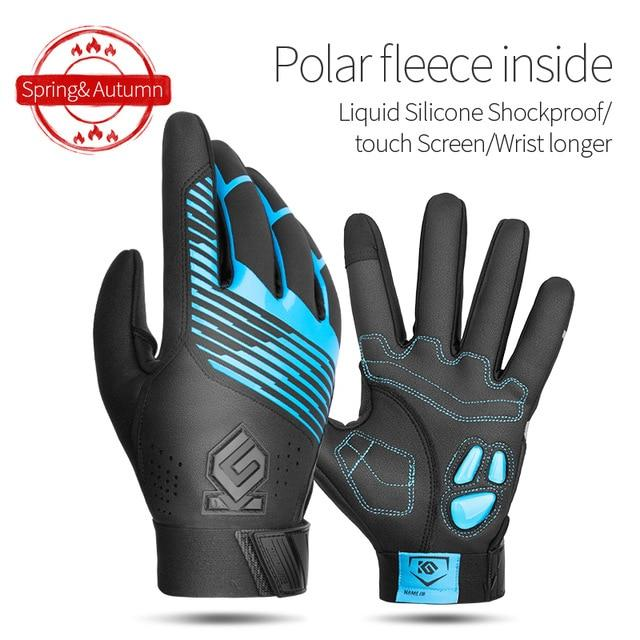 Windproof Cycling Gloves Full Finger Sport Riding MTB Bike Gloves Bikewest.com 91055 Blue Winter S China