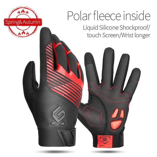 Windproof Cycling Gloves Full Finger Sport Riding MTB Bike Gloves Bikewest.com 91055 Red Winter L China