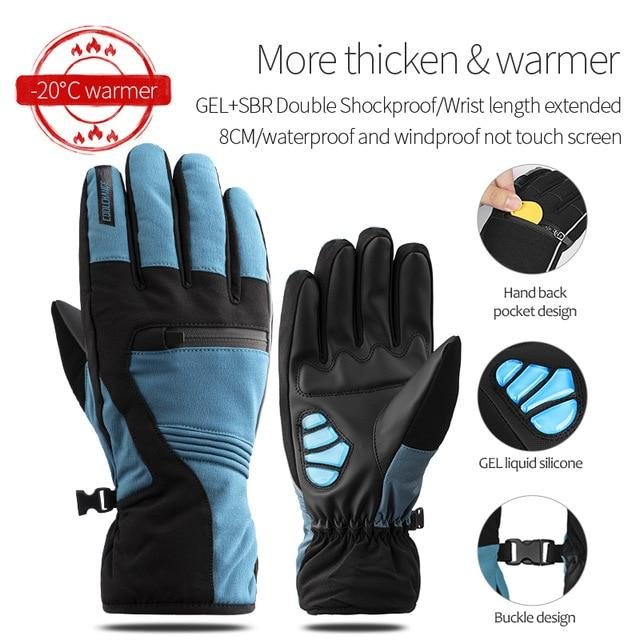 Windproof Cycling Gloves Full Finger Sport Riding MTB Bike Gloves Bikewest.com 91057 Winter Blue XXL China