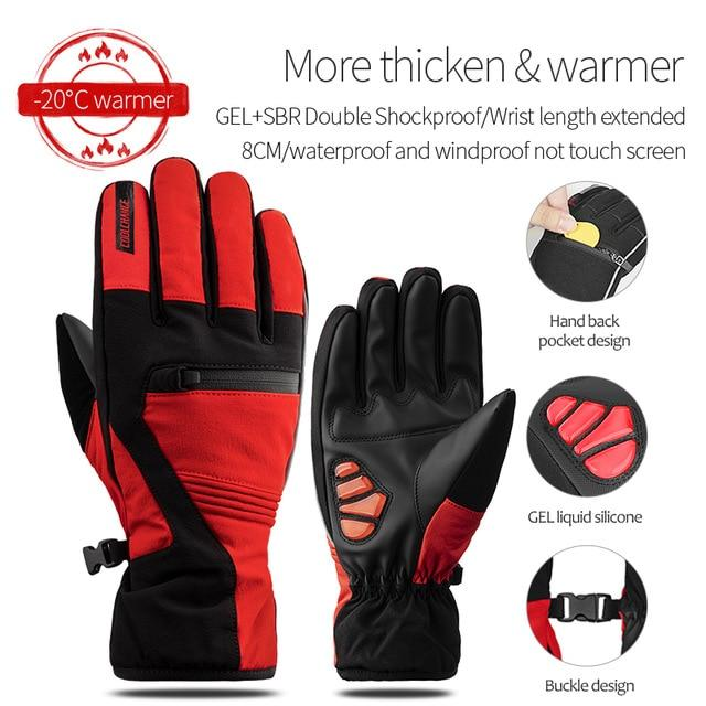 Windproof Cycling Gloves Full Finger Sport Riding MTB Bike Gloves Bikewest.com 91057 Winter Red XXL China