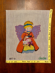 Angel with pig in basket