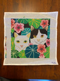 Cats in the Garden (some stitching)