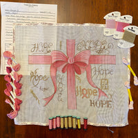 Hope (partially stitched) with threads