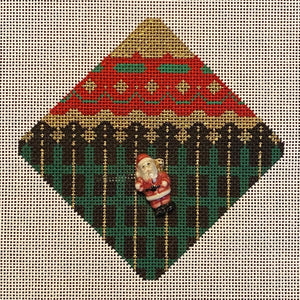 Patterned Square with Santa Embellishment