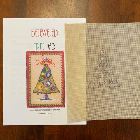Bejeweled Tree #3 (Line drawn canvas and guide)