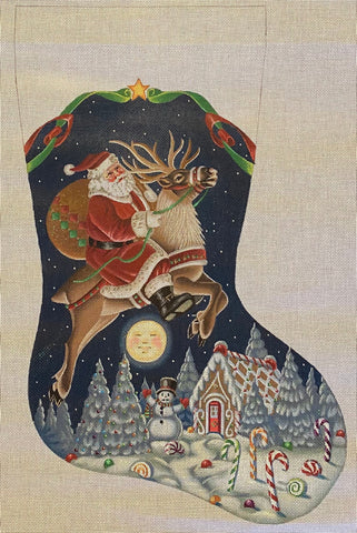 Santa on Reindeer Stocking