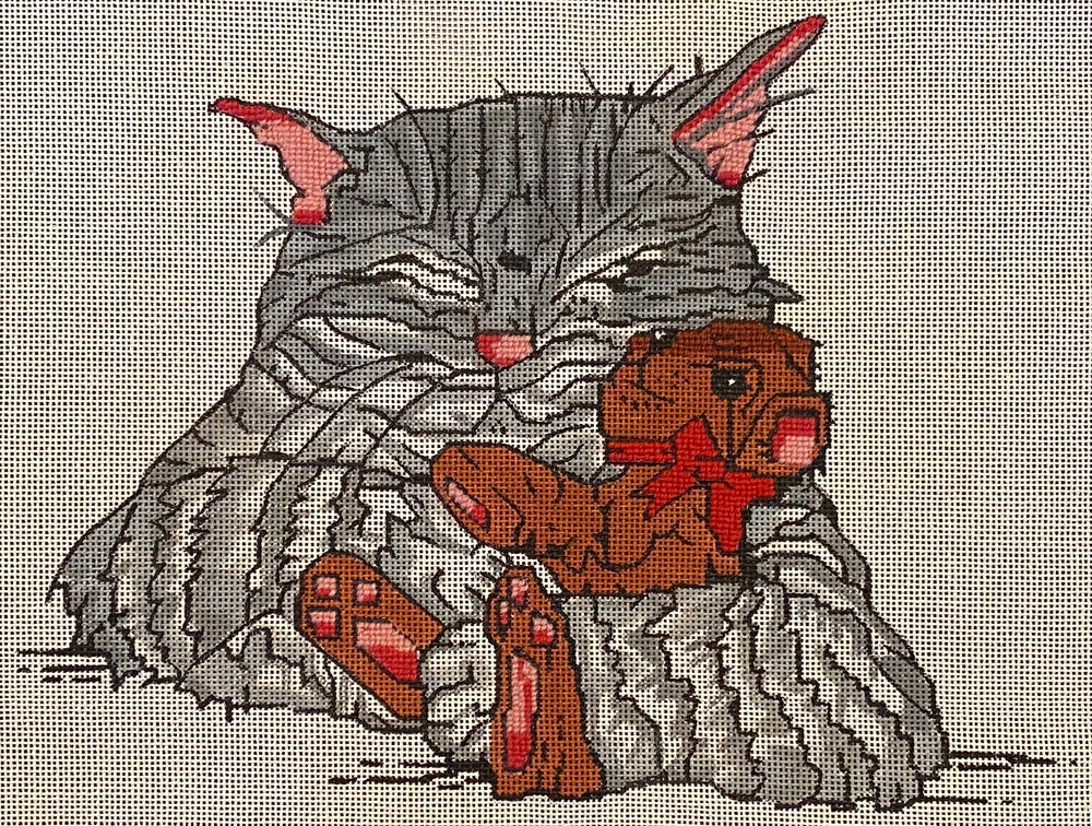 Kitty with Teddy (some stitching)