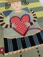 Heart Queen with threads - some stitching
