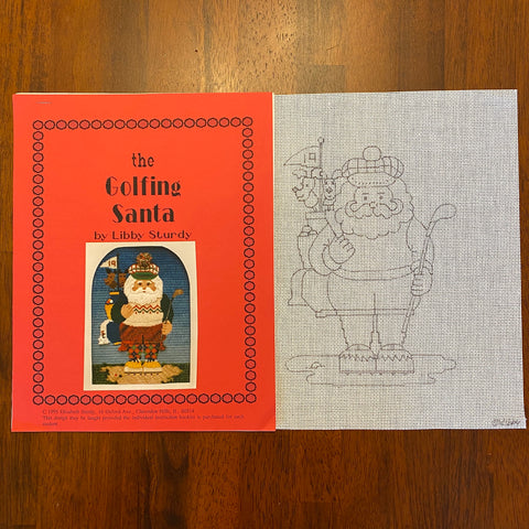 The Golfing Santa (Line Drawn Canvas and Guide)