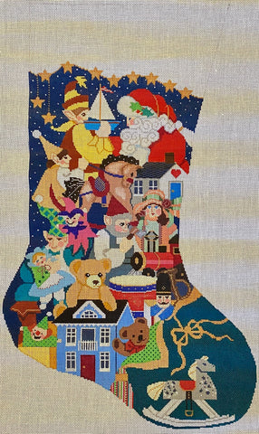 Santa & Elves with Toys Stocking