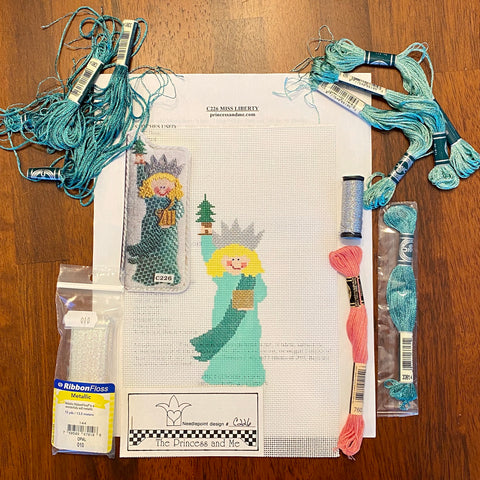 Miss Liberty with Stitch Guide and fibers