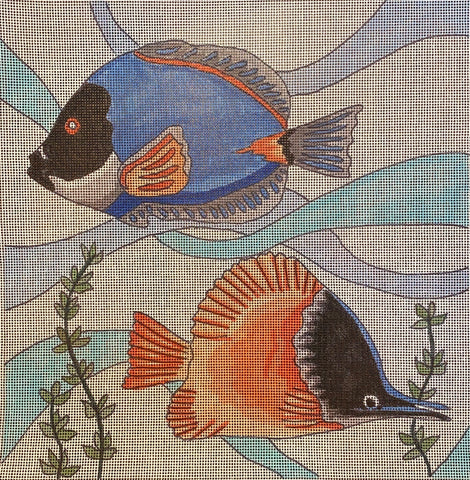 Vintage Tropical Fish - Blue & Red