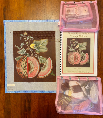 Vintage Melons kit - partially stitched