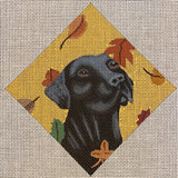 Autumn Black Lab with stitch guide