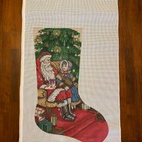 Santa with Girl Stocking