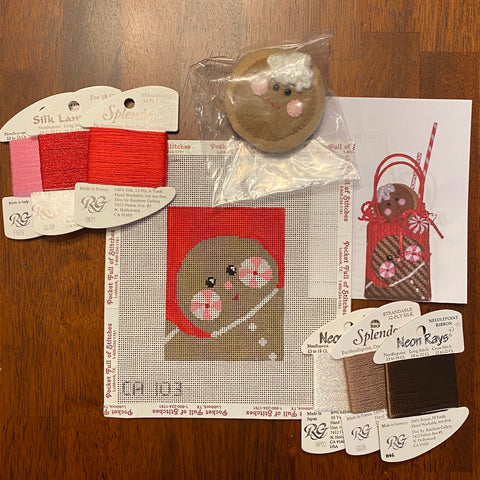 Gingerbread Treat Bag with stitch guide and threads