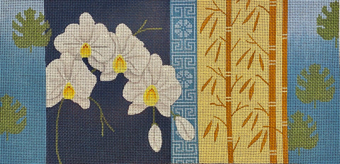 Orchids & Bamboo on Blue