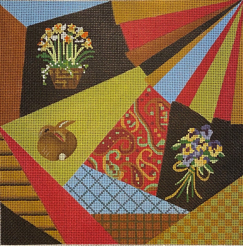 Spring Crazy Quilt with stitch guide from Needlepoint Now