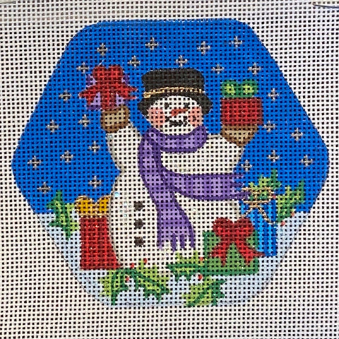 Snowman in Purple Scarf