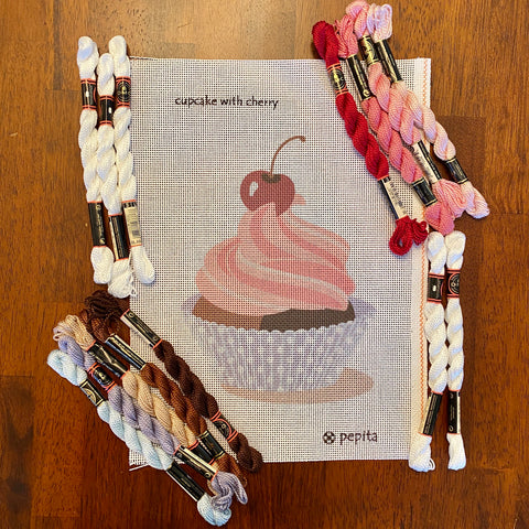 Cupcake with Cherry with threads (Giclee)
