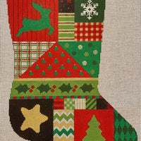 Reindeer Green & Red Stocking