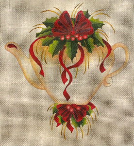 Christmas Teapot - some wear from stitching removed